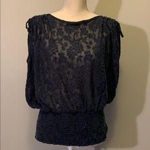 Deletta navy sheer floral print sleeveless top